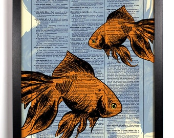 Goldfish Swimming, Home, Kitchen, Nursery, Bath, Office Decor, Wedding Gift, Eco Friendly Book Art, Vintage Dictionary Print 8 x 10 in.