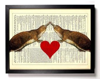 Platypus Love, Home, Kitchen, Nursery, Bath, Office Decor, Wedding Gift, Eco Friendly Book Art, Vintage Dictionary Print 8 x 10 in.