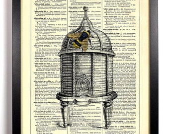 Queen Bee On Her Royal Throne Beehive, Home, Kitchen, Nursery Decor, Wedding Gift, Eco Friendly Book Art, Vintage Dictionary Print 8 x 10 in