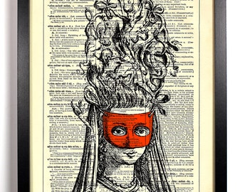 Marie Antoinette Mask, Home, Kitchen, Nursery, Bath, Office Decor, Wedding Gift, Eco Friendly Book Art, Vintage Dictionary Print 8 x 10 in.