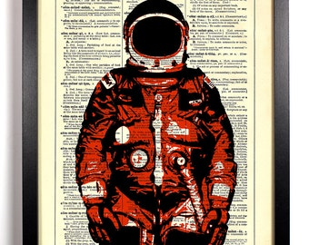 Red Spacesuit Man On The Moon, Home, Kitchen, Nursery, Office Decor, Wedding Gift, Eco Friendly Book Art, Vintage Dictionary Print 8 x 10 in