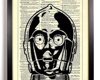 Star Wars C-3PO, Home, Kitchen, Nursery, Bathroom, Office Decor, Wedding Gift, Eco Friendly Book Art, Vintage Dictionary Print 8 x 10 in.