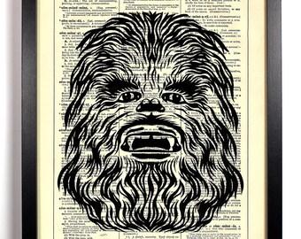 Star Wars Chewbacca, Home, Kitchen, Nursery, Bath, Office Decor, Wedding Gift, Eco Friendly Book Art, Vintage Dictionary Print, 8 x 10 in.