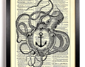Nautical Themed Octopus,Home, Kitchen, Nursery, Bath, Office Decor, Wedding Gift, Eco Friendly Book Art, Vintage Dictionary Print 8 x 10 in.