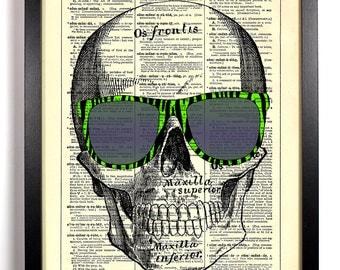 Wayfarer Sunglasses Skull, Home, Kitchen, Nursery, Office Decor, Wedding Gift, Eco Friendly Book Art, Vintage Dictionary Print 8 x 10 in.