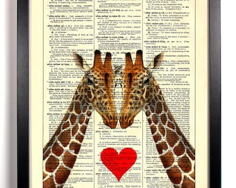 Eye To Eye Giraffe, Home, Kitchen, Nursery, Bath, Office Decor, Wedding Gift, Eco Friendly Book Art, Vintage Dictionary Print 8 x 10 in.