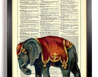 Elephant In The Circus Show, Home, Kitchen, Nursery, Office Decor, Wedding Gift, Eco Friendly Book Art, Vintage Dictionary Print 8 x 10 in.