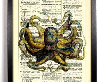Colorful Octopus, Home, Kitchen, Nursery, Bath, Office Decor, Wedding Gift, Eco Friendly Book Art, Vintage Dictionary Print 8 x 10 in.