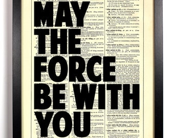 May The Force Be With You Typography, Home, Kitchen, Office Decor, Wedding Gift, Eco Friendly Book Art, Vintage Dictionary Print, 8 x 10 in.