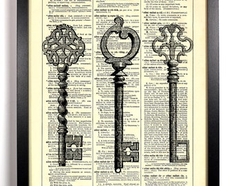 Three Skeleton Keys, Home, Kitchen, Nursery, Bath, Office Decor, Wedding Gift, Eco Friendly Book Art, Vintage Dictionary Print 8 x 10 in.
