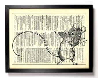 Mouse Dance, Home, Kitchen, Nursery, Dorm, Bathroom, Office Decor, Wedding Gift, Eco Friendly Book Art, Vintage Dictionary Print, 8 x 10 in.