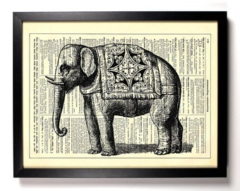 Indian Elephant With Silk Rug, Home, Kitchen, Nursery, Office Decor, Wedding Gift, Eco Friendly Book Art, Vintage Dictionary Print 8 x 10 in