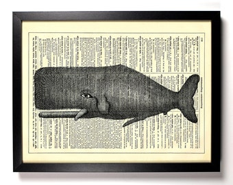 Silly Sperm Whale, Home, Kitchen, Nursery, Bathroom, Office Decor, Wedding Gift, Eco Friendly Book Art, Vintage Dictionary Print, 8 x 10 in.