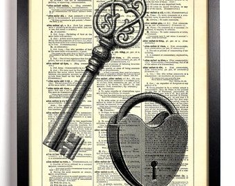 Key To My Heart, Home, Kitchen, Nursery, Bath, Office Decor, Wedding Gift, Eco Friendly Book Art, Vintage Dictionary Print 8 x 10 in.