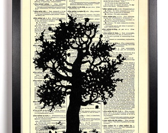Tree Silhouette, Home, Kitchen, Nursery, Bathroom, Office Decor, Wedding Gift, Eco Friendly Book Art, Vintage Dictionary Print, 8 x 10 in.