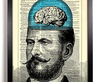 Mustached Man's Big Brain, Home, Kitchen, Nursery, Office Decor, Wedding Gift, Eco Friendly Book Art, Vintage Dictionary Print 8 x 10 in.