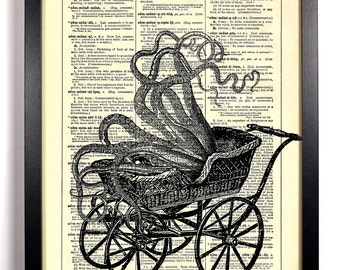 Tentacled Baby Carriage, Home, Kitchen, Nursery, Bath, Office Decor, Wedding Gift, Eco Friendly Book Art, Vintage Dictionary Print 8 x 10 in
