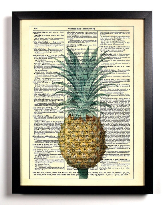 Tropical Pinapple Fruit, Home, Kitchen, Nursery, Bath, Office Decor, Wedding Gift, Eco Friendly Book Art, Vintage Dictionary Print 8 x 10 in