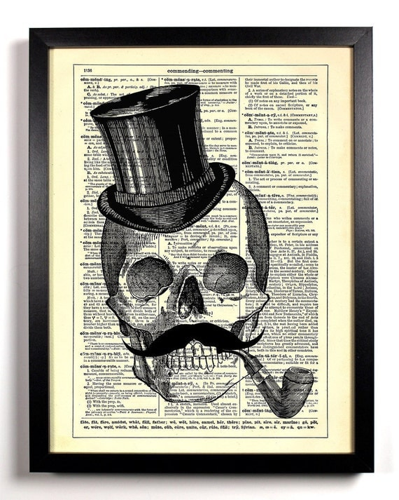 Skeleton Mustache Top Hat, Home, Kitchen, Nursery, Office Decor, Wedding Gift, Eco Friendly Book Art, Vintage Dictionary Print, 8 x 10 in.