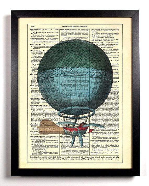 Float On Hot Air Balloon, Home, Kitchen, Nursery, Office Decor, Wedding Gift, Eco Friendly Book Art, Vintage Dictionary Print 8 x 10 in.