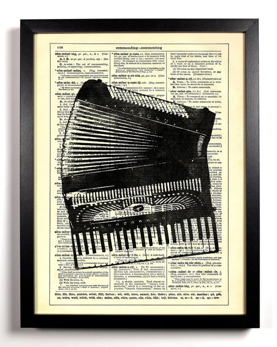 One Man Band, Home, Kitchen, Nursery, Bath, Office Decor, Wedding Gift, Eco Friendly Book Art, Vintage Dictionary Print 8 x 10 in.