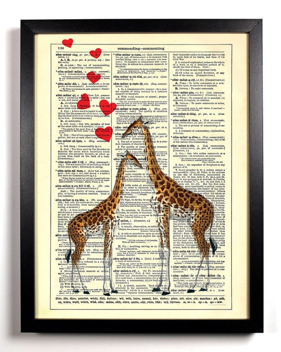 Giraffe Love, Home, Kitchen, Nursery, Bathroom, Office Decor, Wedding Gift, Eco Friendly Book Art, Vintage Dictionary Print, 8 x 10 in.