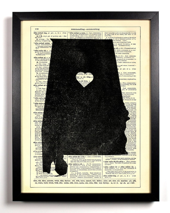 Alabama State Map, Home, Kitchen, Nursery, Bath, Office Decor, Wedding Gift, Eco Friendly Book Art, Vintage Dictionary Print 8 x 10 in.