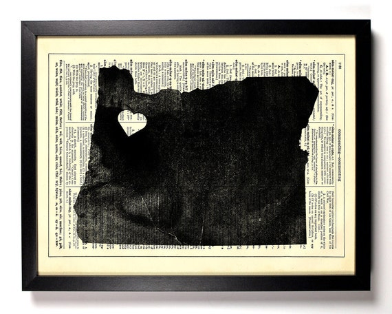 Oregon State Map, Home, Kitchen, Nursery, Bath, Office Decor, Wedding Gift, Eco Friendly Book Art, Vintage Dictionary Print 8 x 10 in.