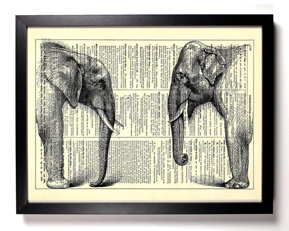 African And Asian Elephant, Home, Kitchen, Nursery, Office Decor, Wedding Gift, Eco Friendly Book Art, Vintage Dictionary Print 8 x 10 in.