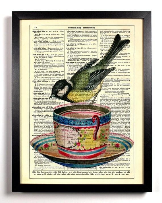 Little Bird On Teacup, Home, Kitchen, Nursery, Bath, Office Decor, Wedding Gift, Eco Friendly Book Art, Vintage Dictionary Print, 8 x 10 in.