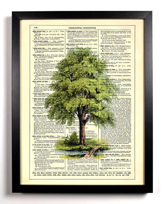 Tree Garden, Home, Kitchen, Nursery, Bathroom, Office Decor, Wedding Gift, Eco Friendly Book Art, Vintage Dictionary Print, 8 x 10 in.