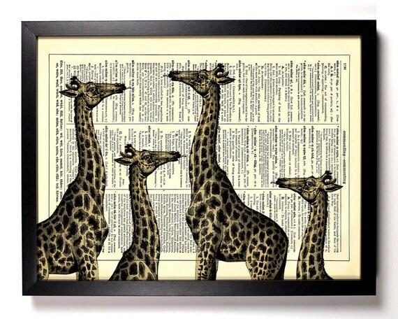 Giraffe Family, Home, Kitchen, Nursery, Bath, Office Decor, Wedding Gift, Eco Friendly Book Art, Vintage Dictionary Print 8 x 10 in.