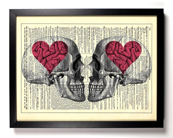 Love On The Brain Skulls, Home, Kitchen, Nursery, Office Decor, Wedding Gift, Eco Friendly Book Art, Vintage Dictionary Print, 8 x 10 in.