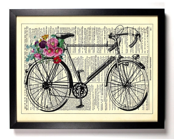 Bicycle With Flowers, Home, Kitchen, Nursery, Bath, Office Decor, Wedding Gift, Eco Friendly Book Art, Vintage Dictionary Print 8 x 10 in.
