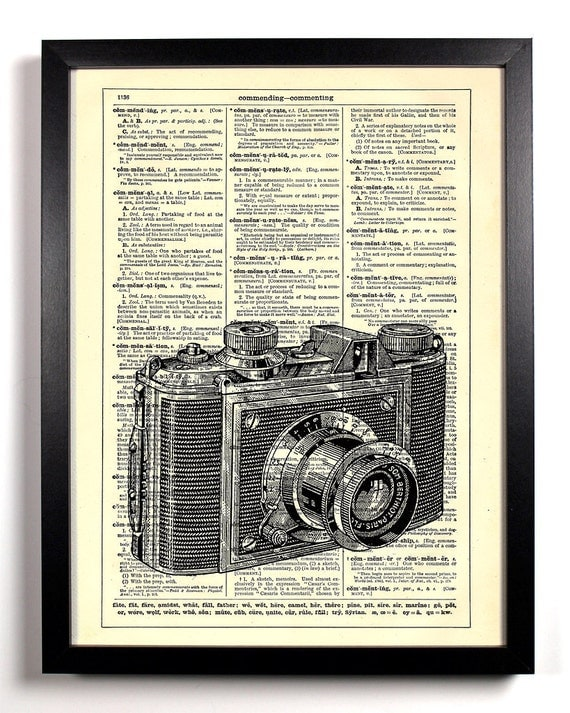 Camera Talk Photography, Home, Kitchen, Nursery, Bath, Office Decor, Wedding Gift, Eco Friendly Book Art, Vintage Dictionary Print 8 x 10 in