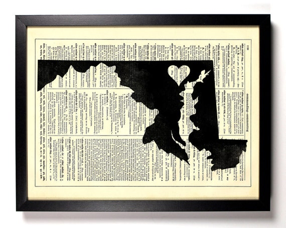 Maryland State Map, Home, Kitchen, Nursery, Bath, Office Decor, Wedding Gift, Eco Friendly Book Art, Vintage Dictionary Print 8 x 10 in.