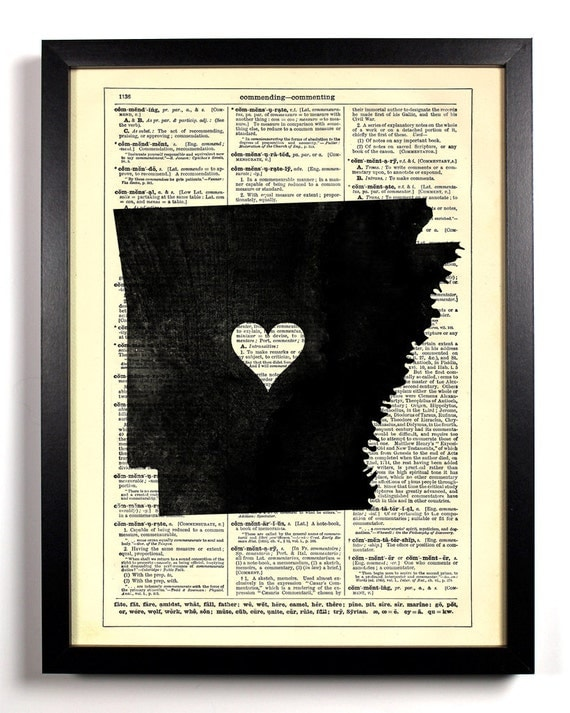 Arkansas State Map, Home, Kitchen, Nursery, Bath, Office Decor, Wedding Gift, Eco Friendly Book Art, Vintage Dictionary Print 8 x 10 in.