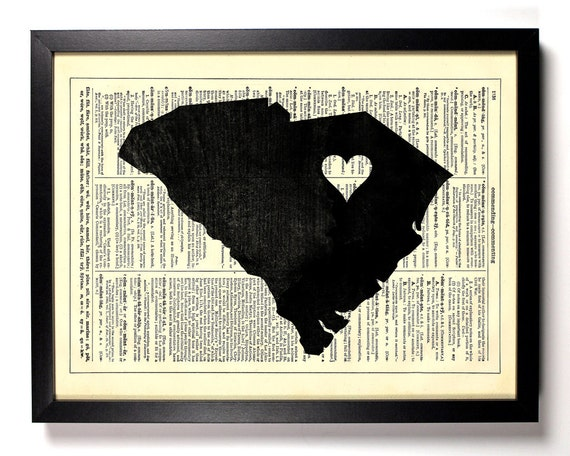 South Carolina State Map, Home, Kitchen, Nursery, Office Decor, Wedding Gift, Eco Friendly Book Art, Vintage Dictionary Print 8 x 10 in.