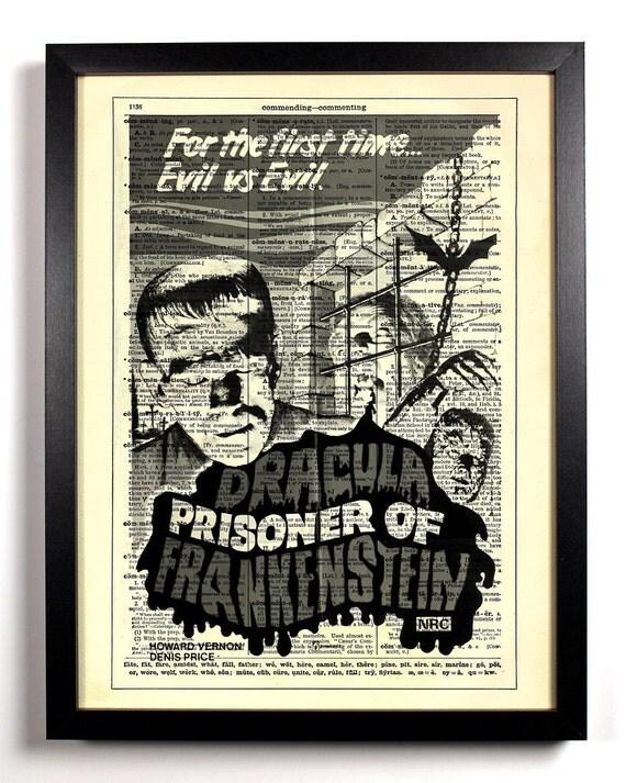 Frankenstein Retro Horror Movie Poster, Home, Kitchen, Office Decor, Wedding Gift, Eco Friendly Book Art, Vintage Dictionary Print 8 x 10 in