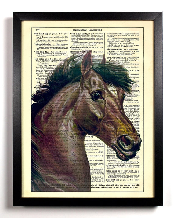 A Horse Of Course, Home, Kitchen, Nursery, Bath, Office Decor, Wedding Gift, Eco Friendly Book Art, Vintage Dictionary Print 8 x 10 in.