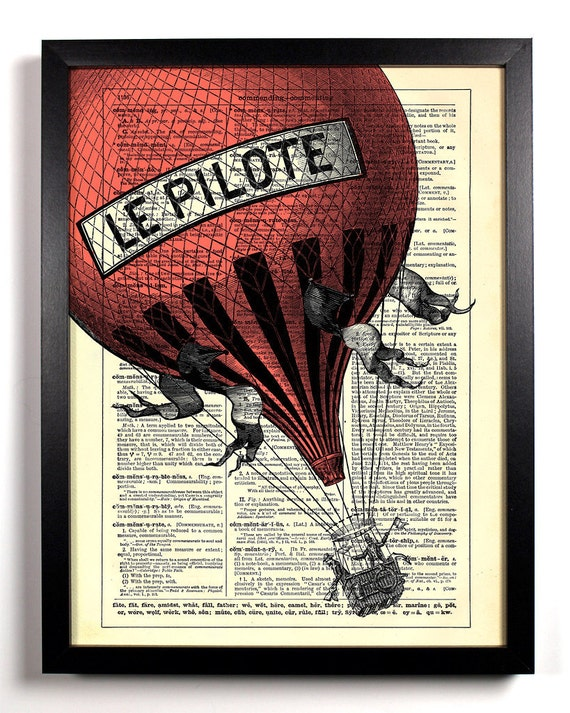 Big Red Hot Air Balloon, Home, Kitchen, Nursery, Bath, Office Decor, Wedding Gift, Eco Friendly Book Art, Vintage Dictionary Print 8 x 10 in