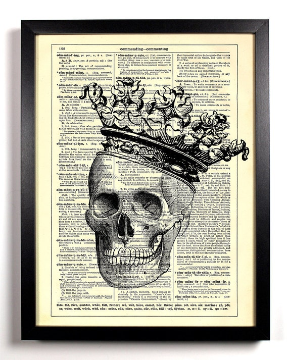 Skull Of A King, Home, Kitchen, Nursery, Bath, Office Decor, Wedding Gift, Eco Friendly Book Art, Vintage Dictionary Print 8 x 10 in.