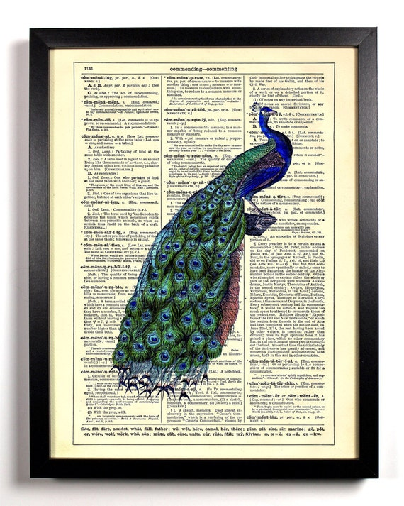 Molly Peacock, Home, Kitchen, Nursery, Bathroom, Office Decor, Wedding Gift, Eco Friendly Book Art, Vintage Dictionary Print, 8 x 10 in.