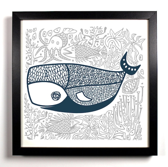 The Jolly Old Whale, Home, Kitchen, Nursery, Bath, Dorm, Office Decor, Wedding Gift, Housewarming Gift, Unique Holiday Gift, Wall Poster