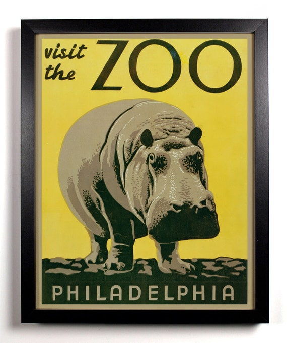 Visit The Philadelphia Zoo, Home, Kitchen, Nursery, Bath,  Office Decor, Wedding Gift, Housewarming Gift, Unique Holiday Gift, Wall Poster
