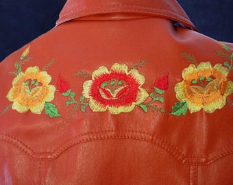 Vintage late 60s Jacket Pumpkin Faux Leather Embroidered Woodstock Coat