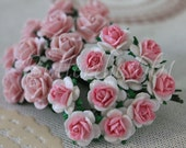200  Handmade Mulberry Paper Flowers Pale Pink and White  Mini Wedding Roses for sharmeil