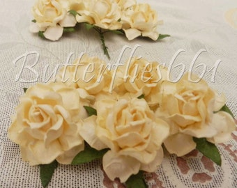 20 Cream Handmade Mulberry Paper Flowers Wedding Scrapbooking Craft Roses 21-147