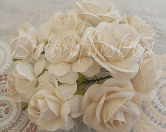 10 Handmade Mulberry Paper Flowers Mixed Sizes of  White  Large Wedding Roses Code BMS-151