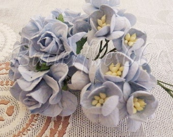 15 Handmade Mulberry Paper Flowers Mixed  Baby Blue Cherry Blossom Curly Roses Boys Wedding Crafts G3S3-170